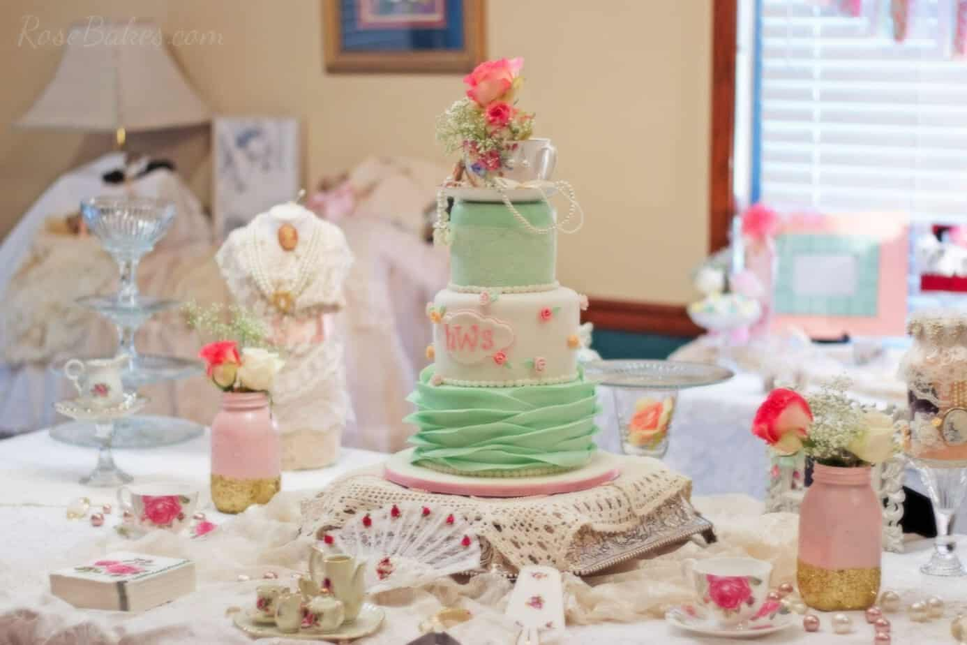Shabby Chic Baby Shower Cake with Lace and Rosebuds and Ruffles