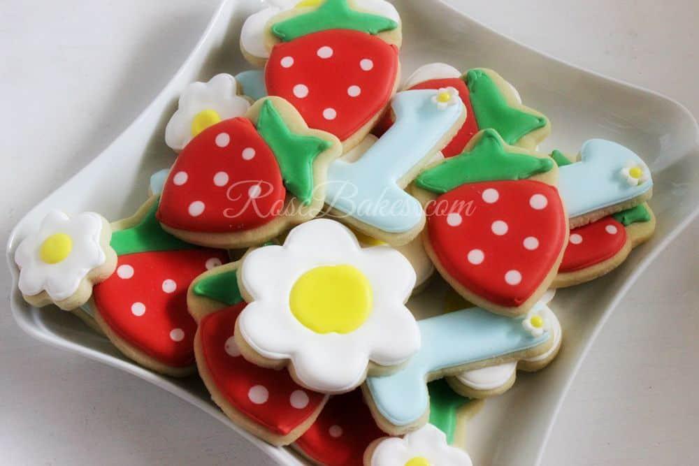 Strawberries-1st-Birthday-Cookies-Flowers-Ones