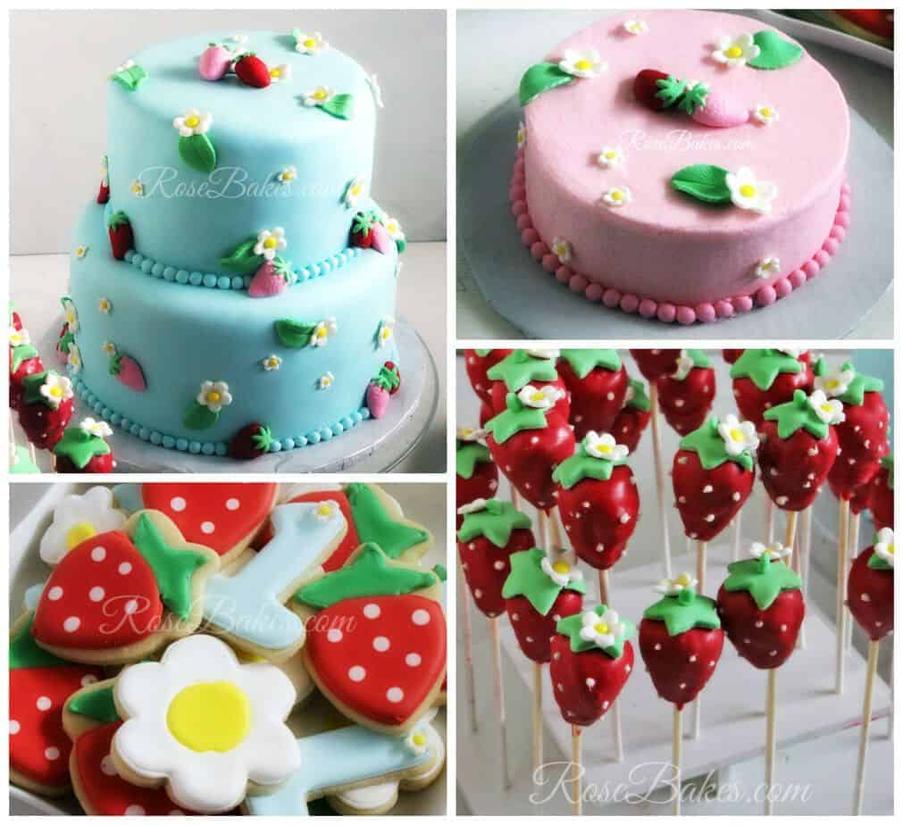Strawberry Party Cake Cookies Pops