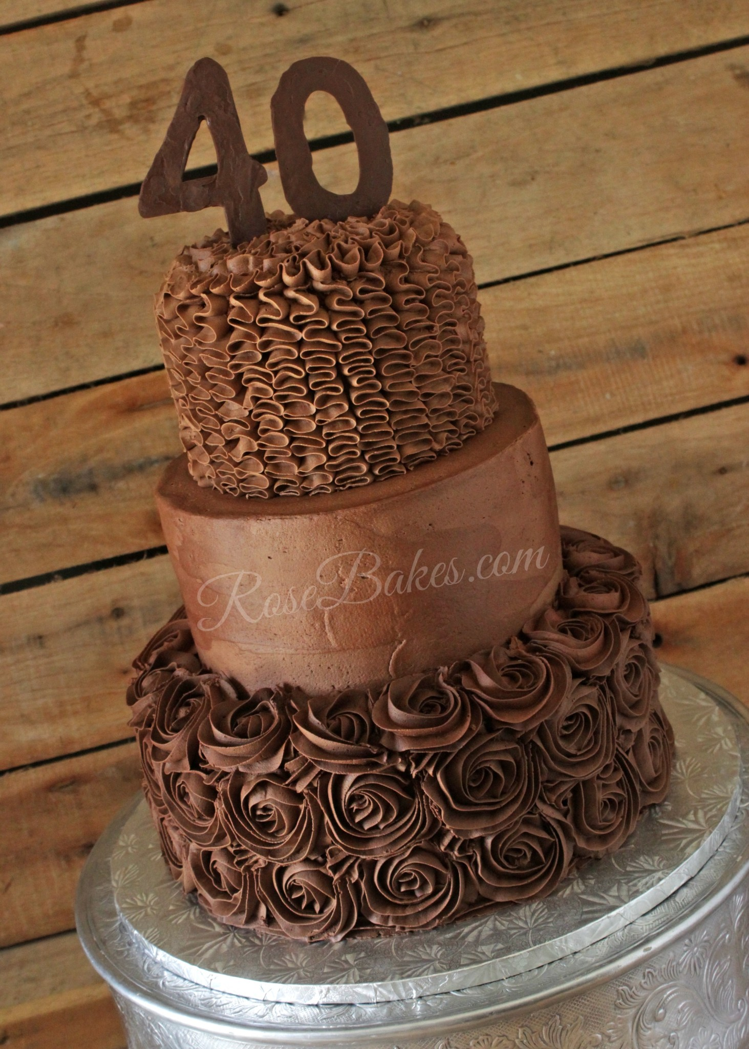 All Chocolate 40th Birthday Cake - Rose Bakes