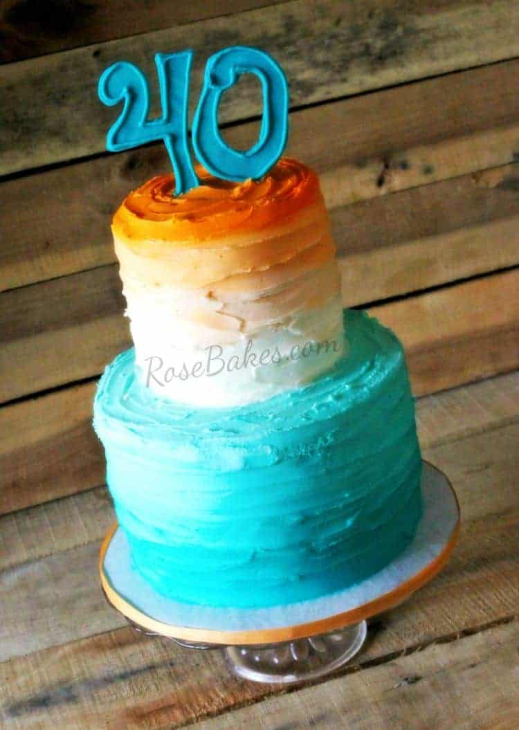 40th Birthday Ombre Cake Turquoise & Coral