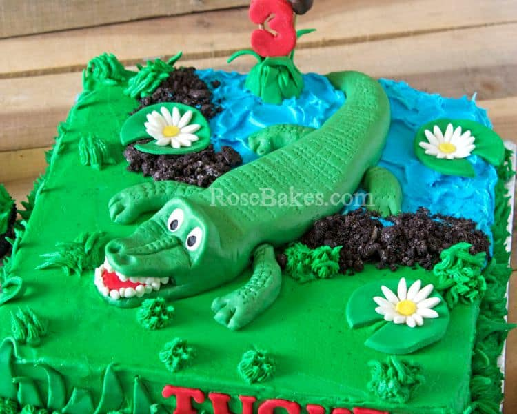A Swamp Party Alligator Cake Amp Grass Cupcakes Rose Bakes
