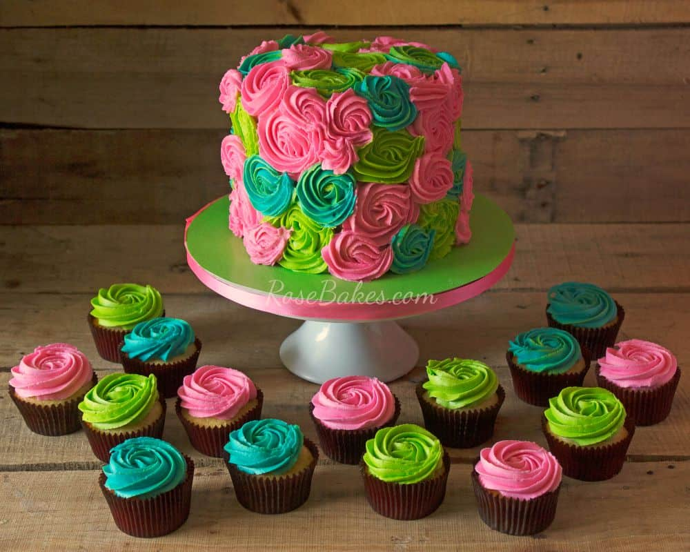 Bright Roses Cake and Cupcakes