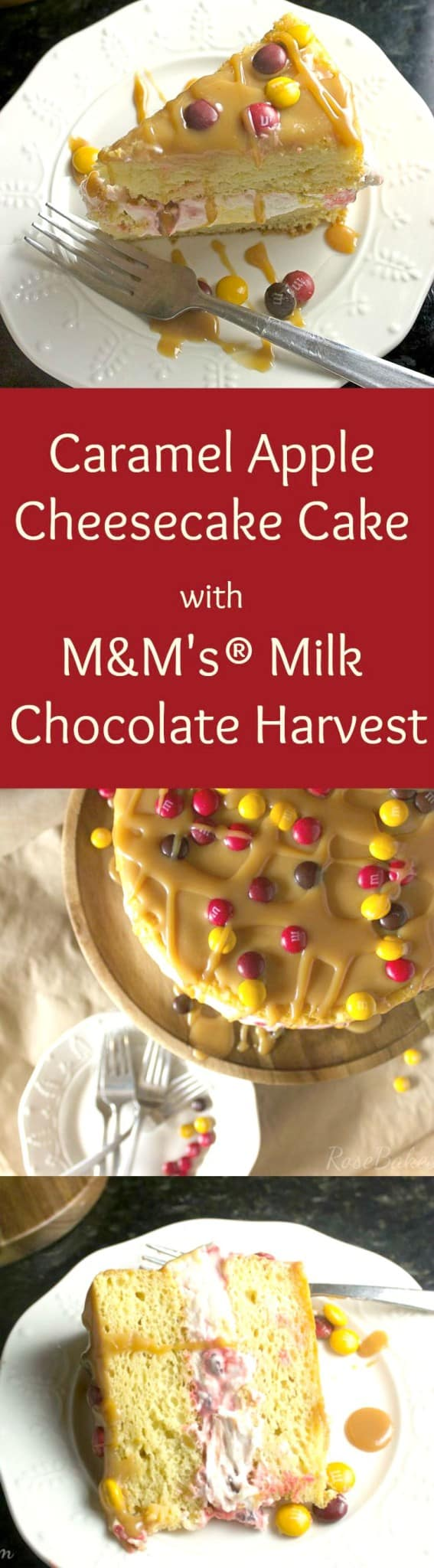Caramel Apple Cheesecake Cake with M&M's Milk Chocolate Harvest - A Perfect Fall Recipe!