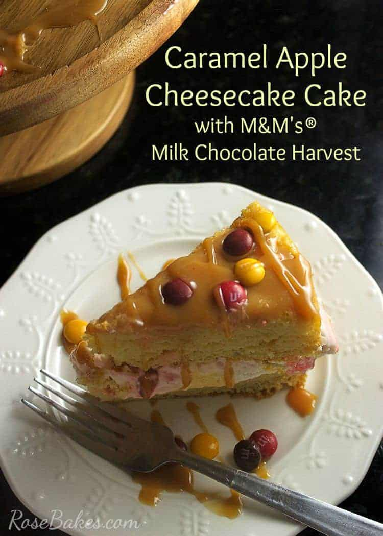 Caramel Apple Cheesecake Cake with M&M's Milk Chocolate Harvest