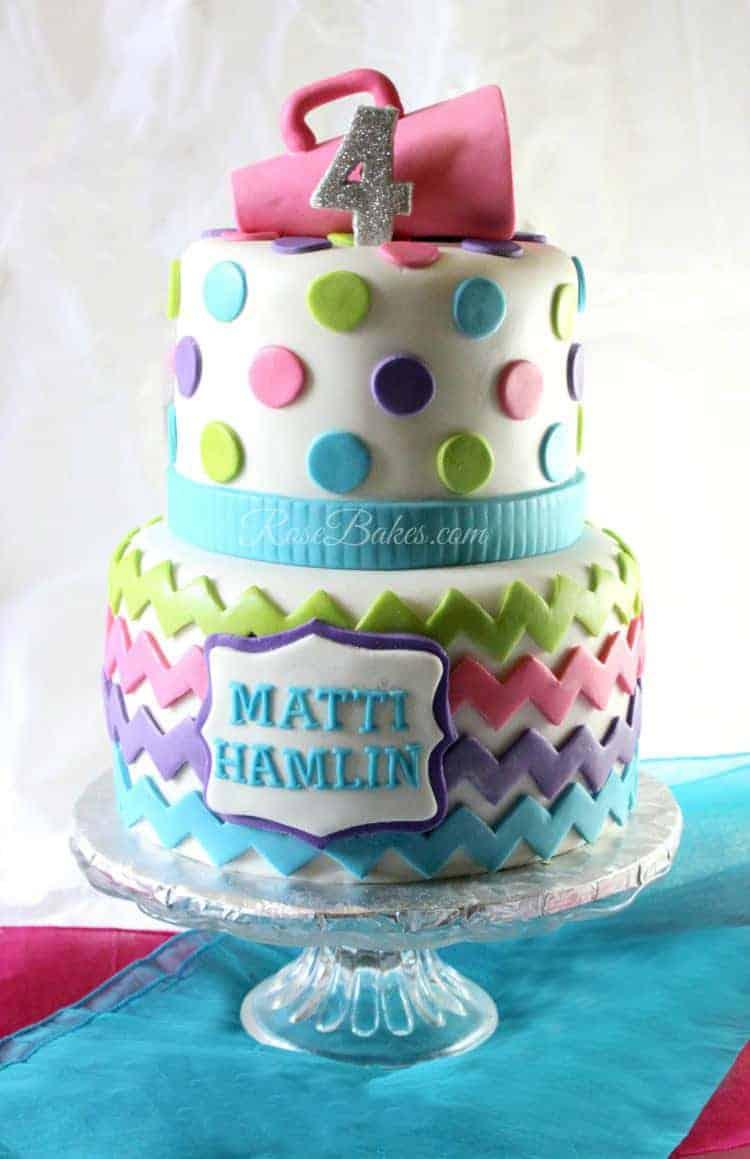 Chevron Polka Dots Cheerleader Cake Rose Bakes