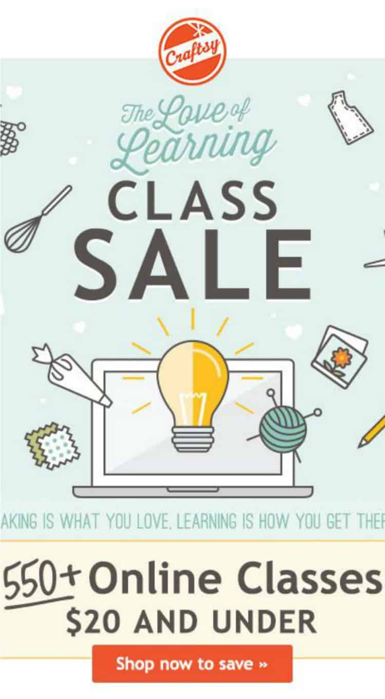 550 Craftsy Classes (including Cake Decorating Classes) for under $20!