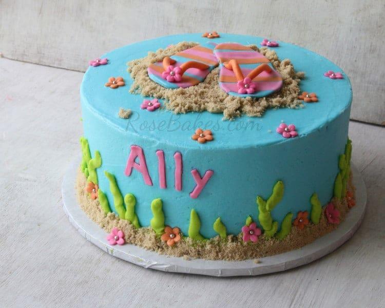 Stupendous Summer Flip Flops Beach Cake Rose Bakes Birthday Cards Printable Inklcafe Filternl