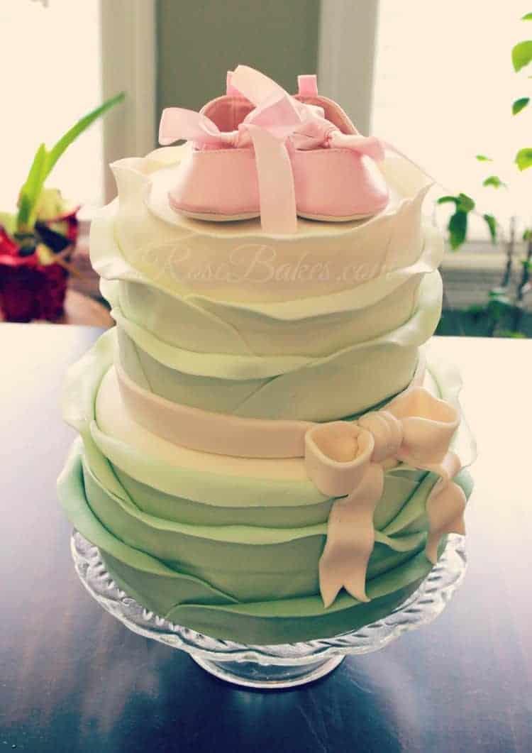 Sage and Pink Ruffles Cake