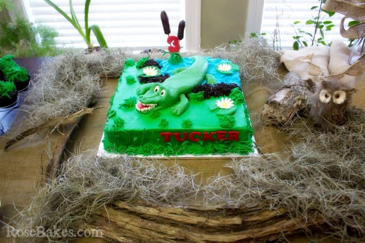 Swamp Party Alligator Cake by Rose Bakes