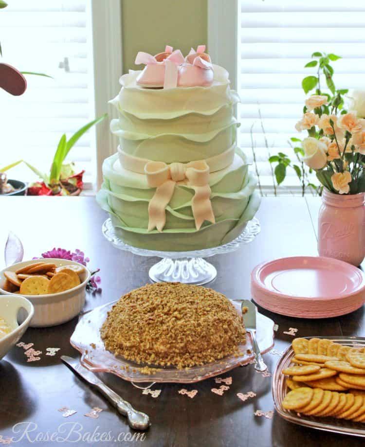 Vintage Pink Sage Ruffles Baby Shower Cake Rose Bakes