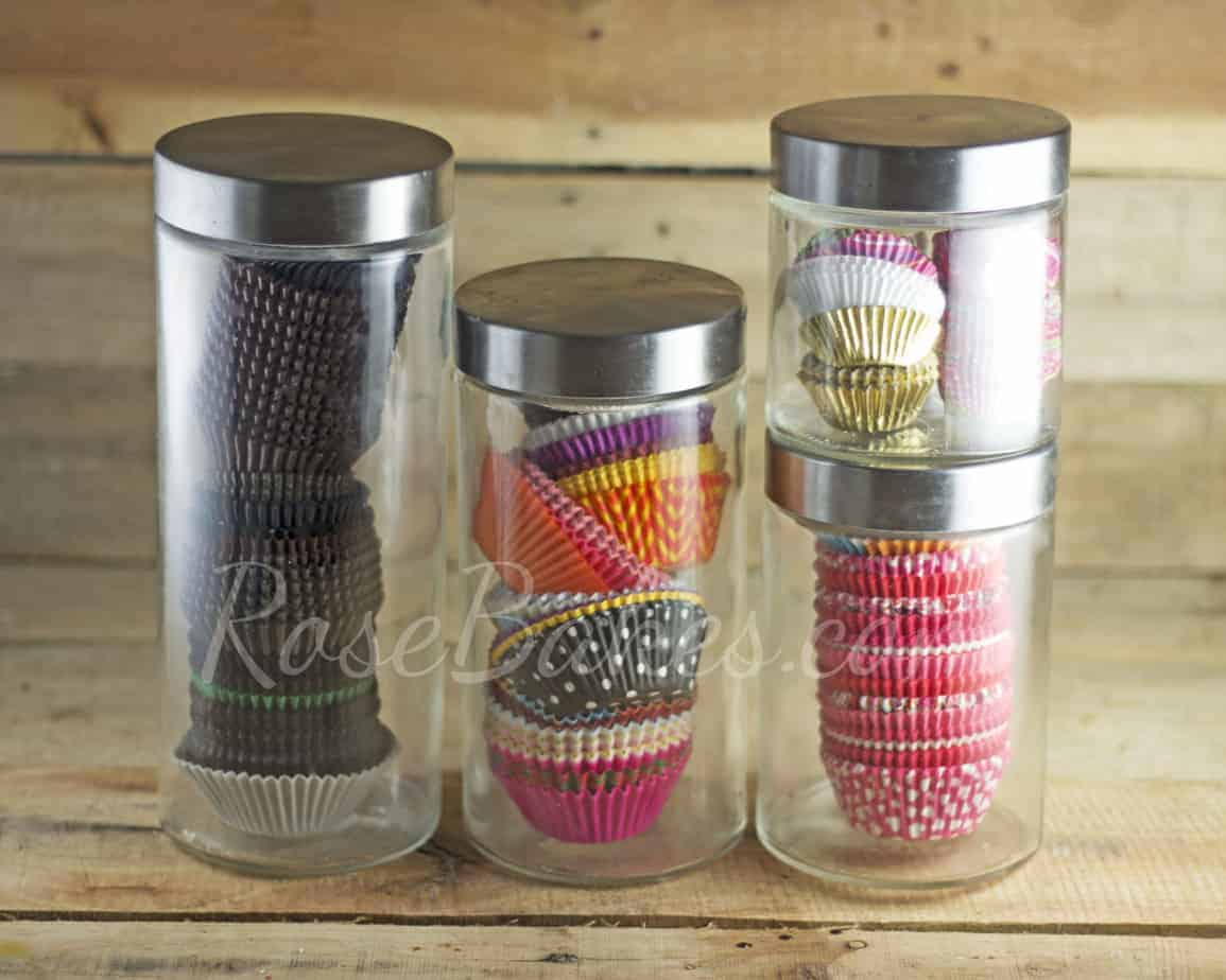 Cupcakes Liners in Glass Canisters