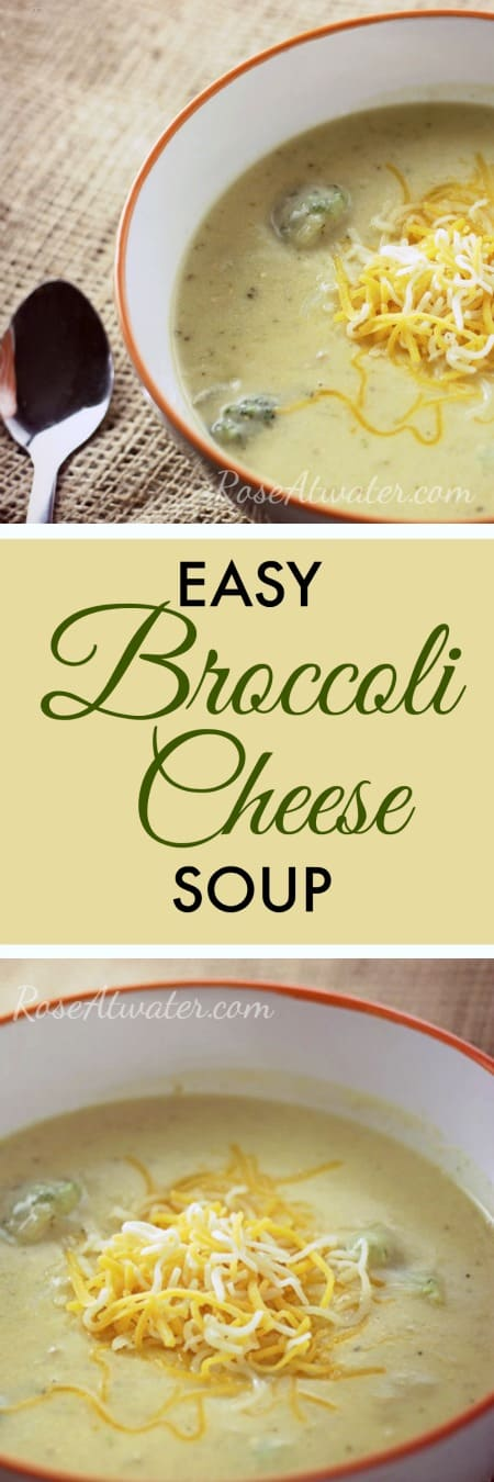 Easy Broccoli Cheese Soup with text