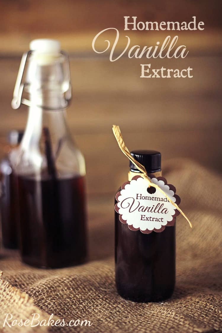 How to Make Homemade Vanilla Extract - Rose Bakes - Swing Bottle and amber bottle filled with vanilla extract.