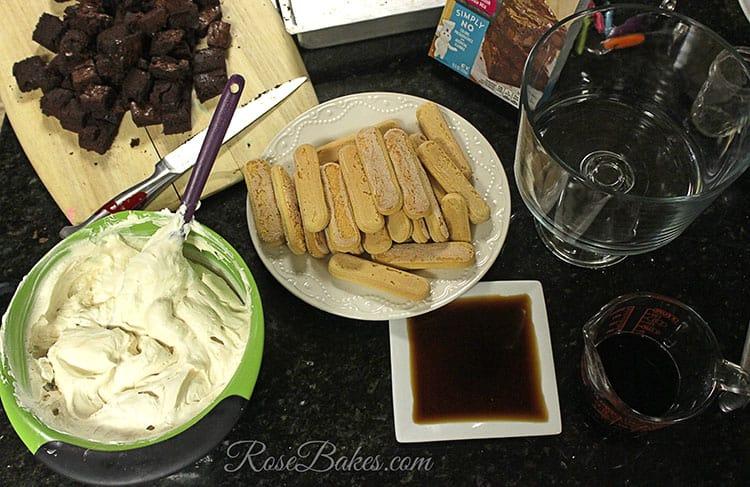 Tiramisu Brownie Trifle Ingredients