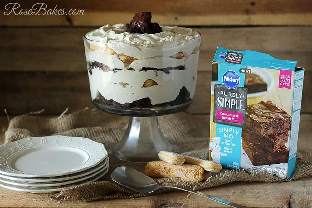 Tiramisu Brownie Trifle with Pillsbury Purely Simple Chocolate Chunk Brownies