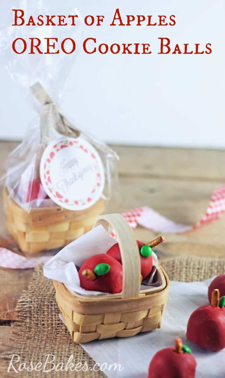 Basket of Apples OREO Cookie Balls - Perfect Teacher's Gift for Thanksgiving! by Rose Bakes