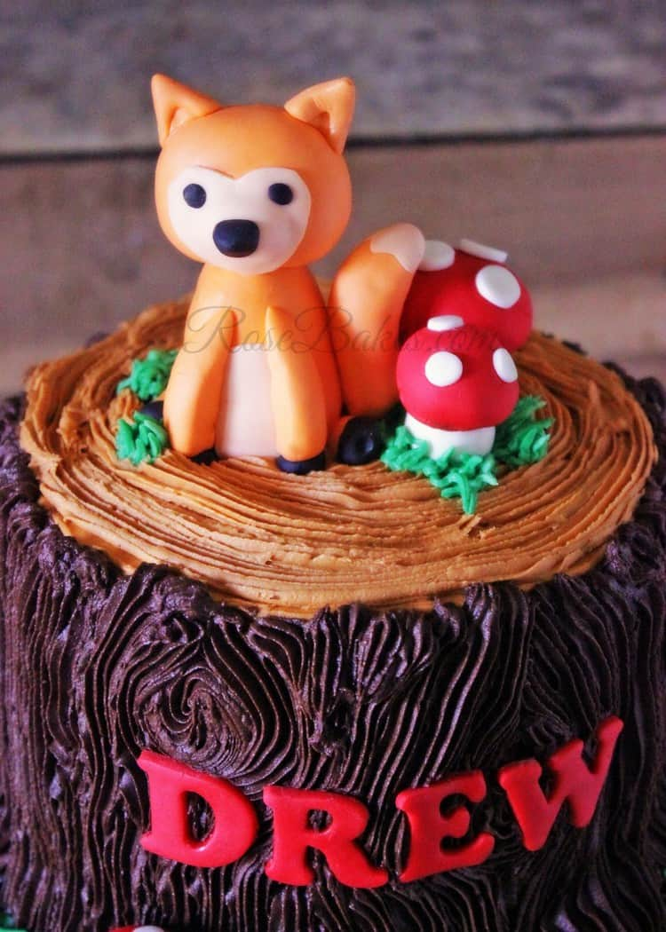 woodland animals tree stump baby shower cake rose bakes