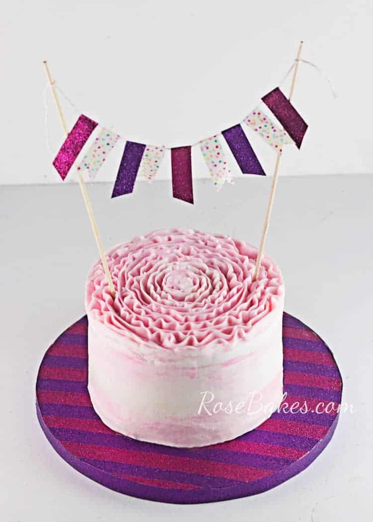 how to decorate a cake board matching bunting topper - How To Decorate A Cake