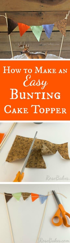 How to Make an Easy Bunting Cake Topper RoseBakes.com