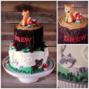 Woodland Animals Stump Cake