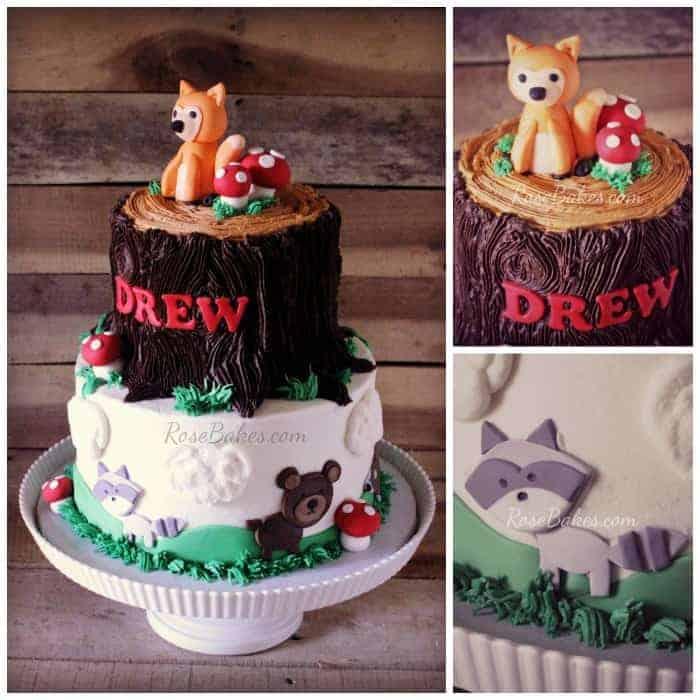 Woodland Animals Tree Stump Baby Shower Cake Rose Bakes