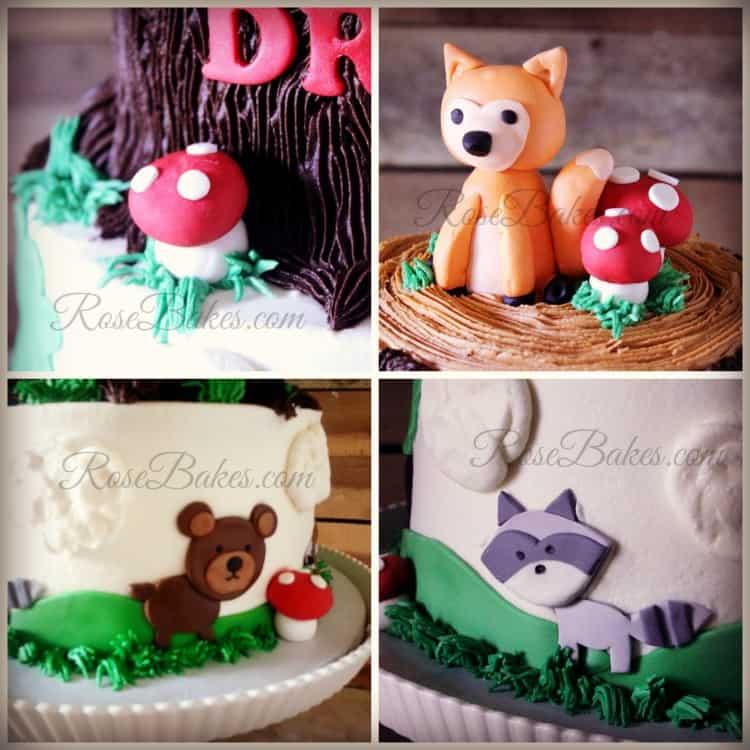 Woodland Animals Tree Stump Cake Details