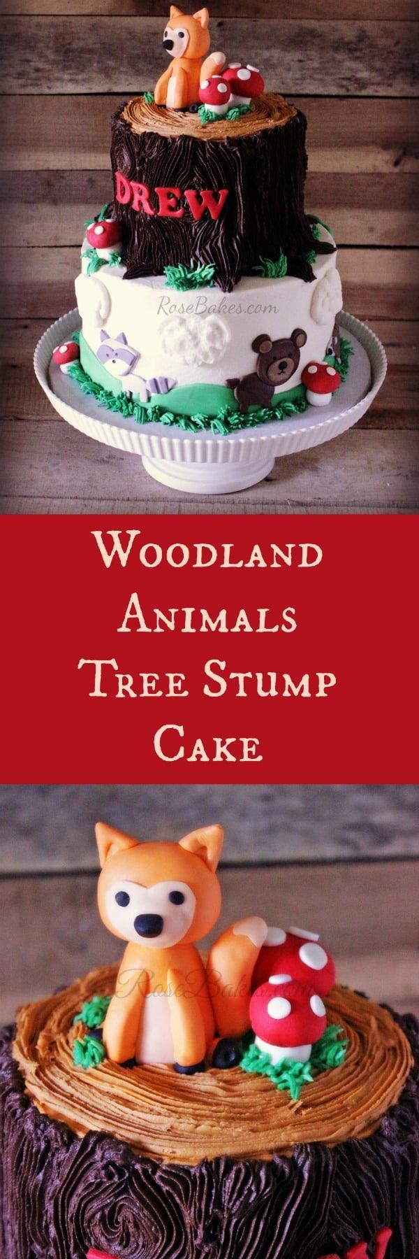 Woodland Animals Tree Stump Cake RoseBakes.com