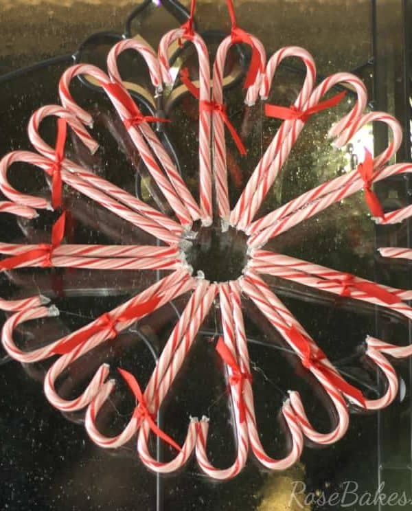 How to Make a Candy Cane Wreath | RoseBakes.com