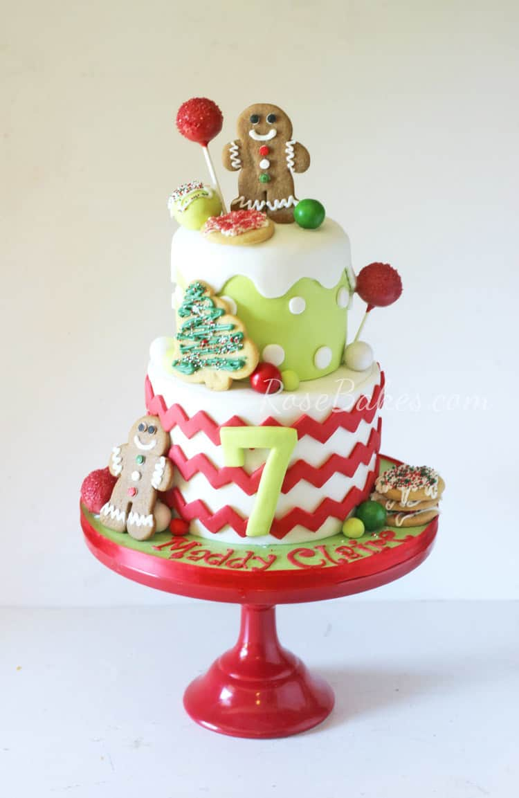 Christmas Cookie Decorating Party Birthday Cake