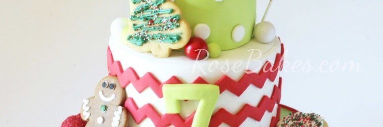 Christmas Cookie Decorating Party Birthday Cake | RoseBakes.com Click over for all the details!