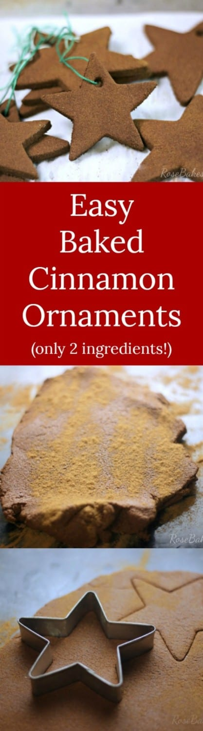 "Easy Baked Cinnamon Ornaments | RoseBakes.com A tutorial and ""recipe"" for really easy, homemade baked cinnamon ornaments. Great project for kids - only takes 2 ingredients!"