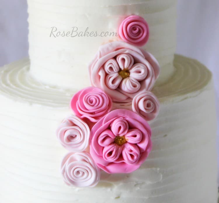 Fondant Frills Cabbage Roses and Ribbon Roses