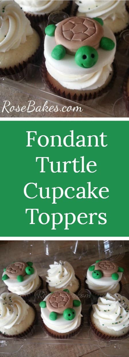 Fondant Turtle Cupcake Toppers | RoseBakes.com