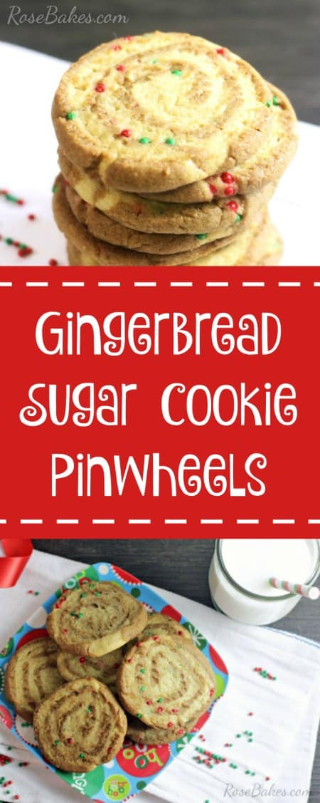 Gingerbread Sugar Cookie Pinwheels | RoseBakes.com #HolidayRemix #NestleTollhouse #sponsored #BakeSomeonesDay