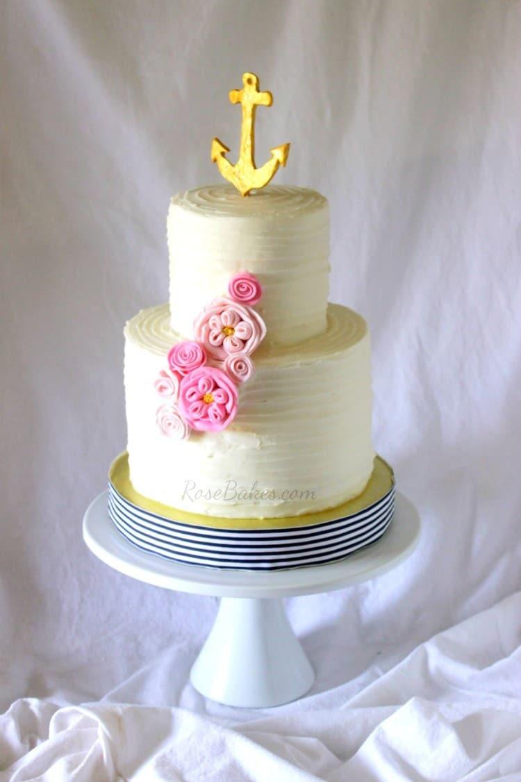 Girly Nautical Anchor Cake 3 tier