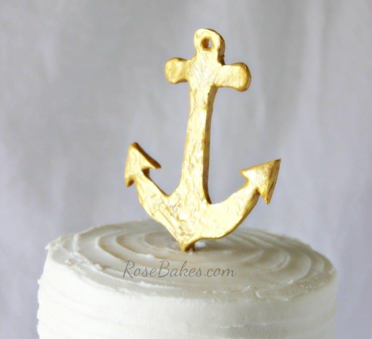 Gold Anchor Cake Topper