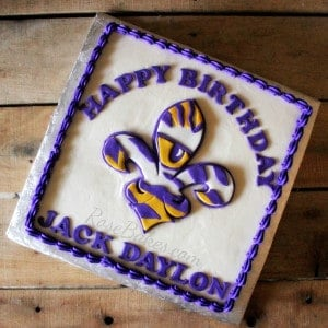 LSU Eye of the Tiger Fleur de Lis Cake