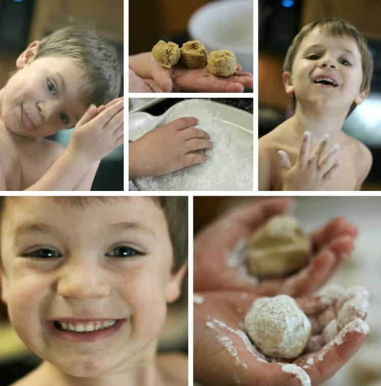 Making Peanut Butter Snowballs with Kids
