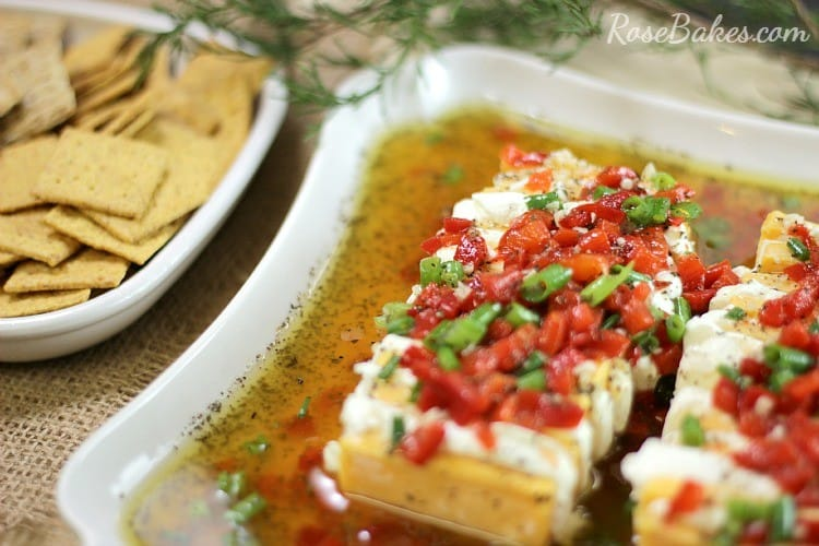 Marinated Cheese Appetizer | RoseBakes.com. This cheese appetizer is easy, can be made ahead and is perfect party food for Christmas!