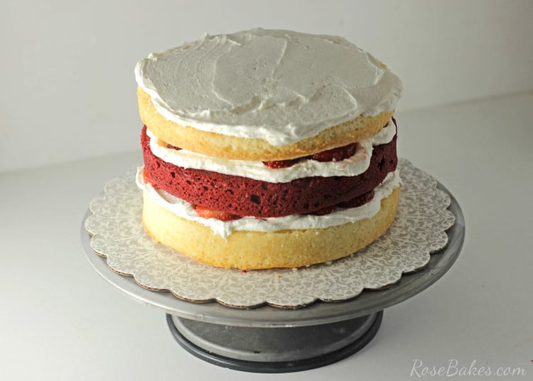 Red Velvet Strawberry Shortcake Layer Cake With Cream Cheese Frosting