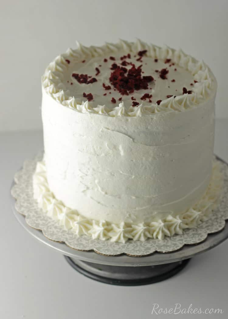 Red Velvet Strawberry Shortcake Cake with Cream Cheese Buttercream | RoseBakes.com
