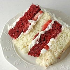 Red Velvet Strawberry Shortcake Cake with Cream Cheese Buttercream | RoseBakes.com