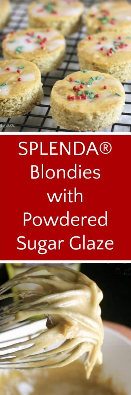 SPLENDA® Blondies with Powdered Sugar Glaze | RoseBakes.com #ad #SplendaHoliday