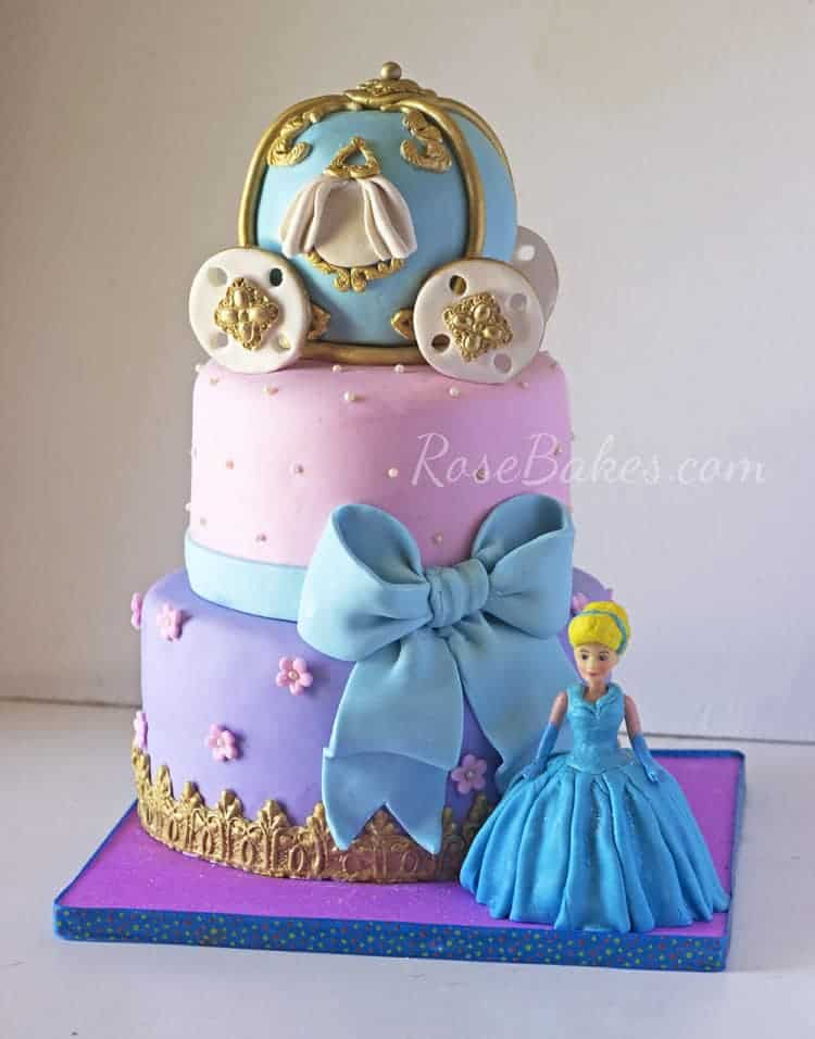 Cinderella Cake with Carriage Cake Topper