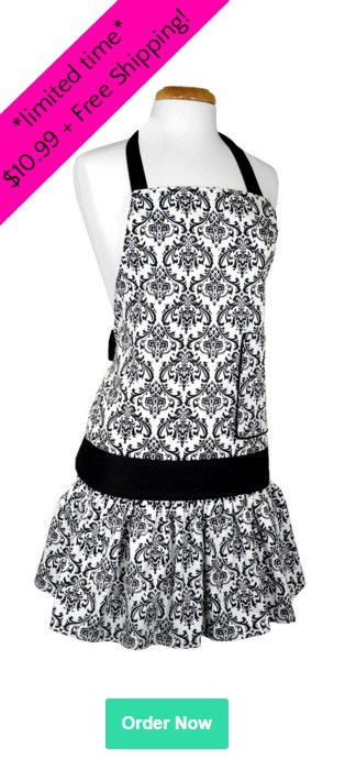 Limited Time Sadie Damask Black Apron - Only $10.99 Shipped!