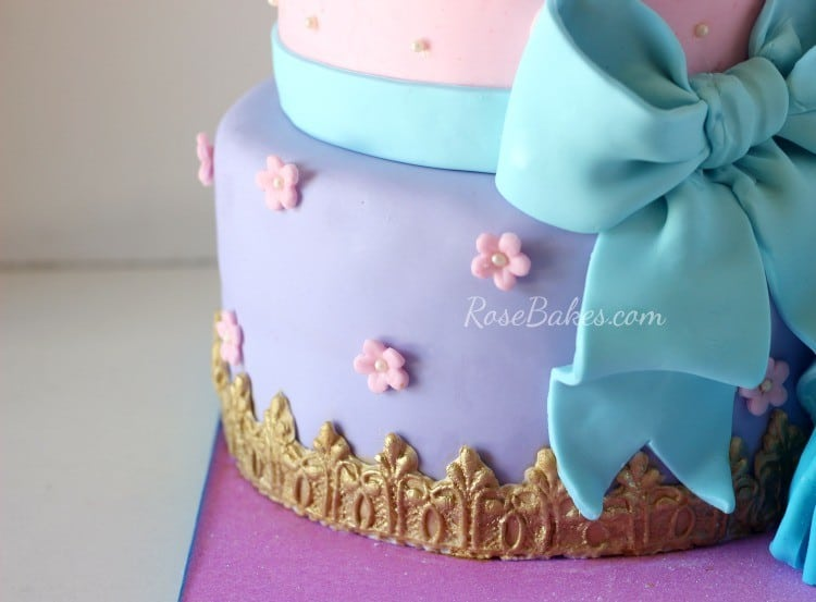 Purple Tier of Cinderella Birthday Cake