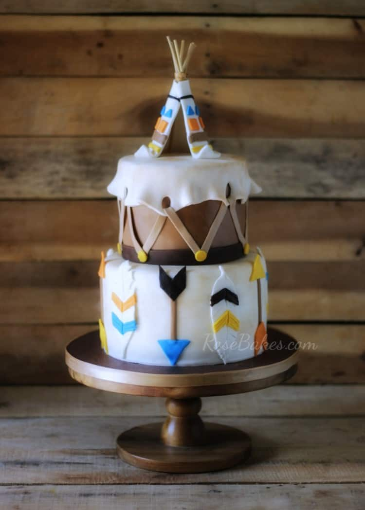 Wild Indian Cake with Teepee Cake Topper