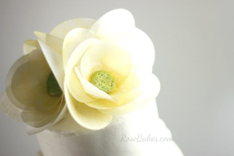 Wafer Paper Flowers Wedding Cake Topper