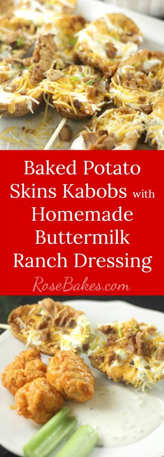 Baked Potato Skins Kabobs with Homemade Buttermilk Ranch Dressing RoseBakes